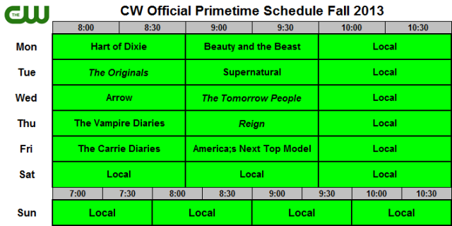 CW Official Schedule Fall 2013
