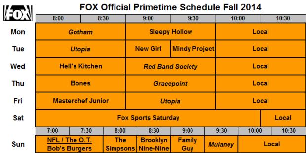 FOX Fall Schedule 2014