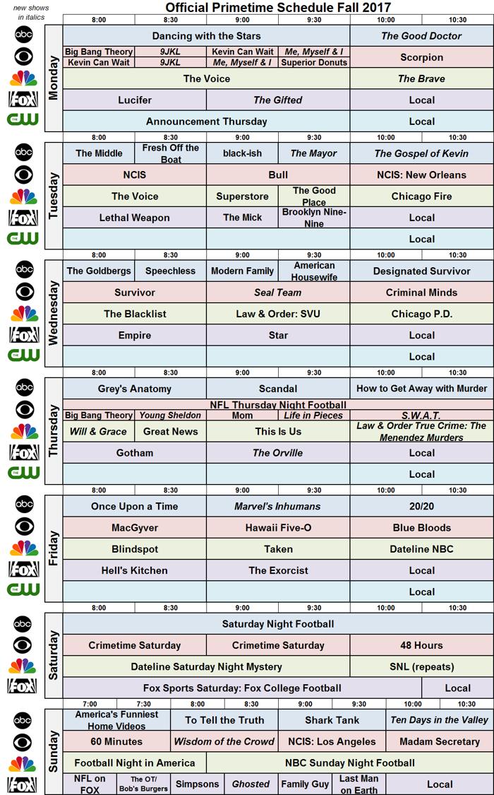 Network Schedule Fall 2017 NBC FOX ABC CBS