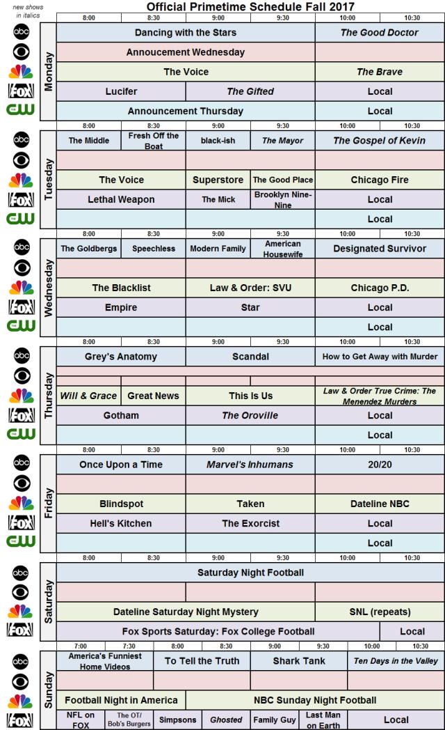 Network Schedule Fall 2017 NBC FOX ABC