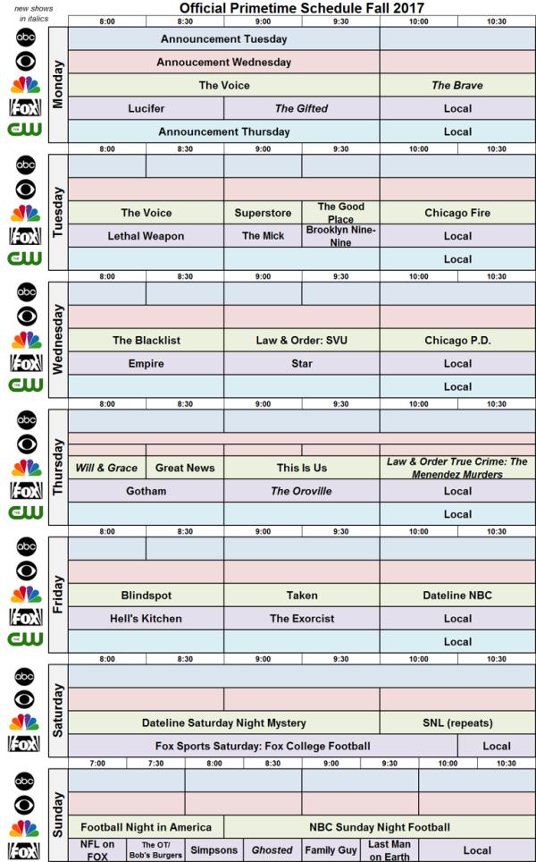 Network Schedule Fall 2017 NBC FOX