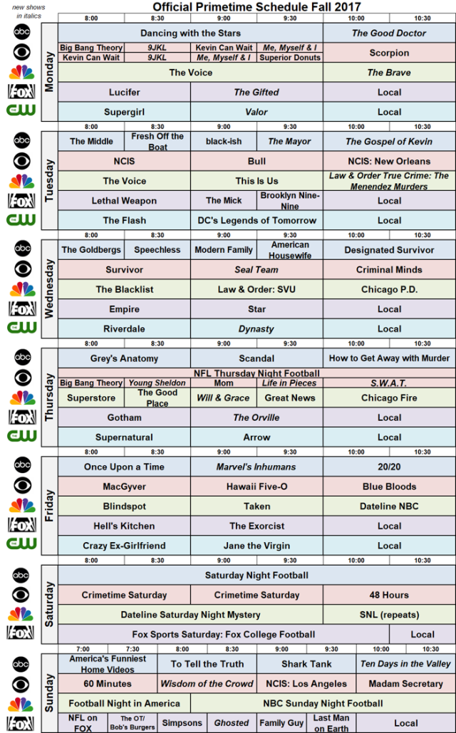 Network Schedule Fall 2017 NBC revised FOX ABC CBS CW