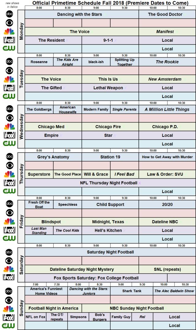 Fall 2018 Broadcast Primetime Schedule NBC FOX ABC